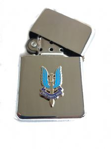 SAS Special Air Service Chrome Plated Windproof Petrol Lighter in Gift Box